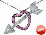 Original Star K™ Created Pink Sapphire Heart With Love Arrow Pendant style: 307222
