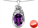 Original Star K™ Large Loving Mother Twin Family Pendant With Oval Simulated Amethyst 11x9mm