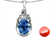 Original Star K™ Large Loving Mother With Twin Children Pendant With Oval 11x9mm Simulated Aquamarine style: 307225