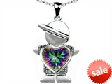 Original Star K™ Boy Holding 8mm Mother Heart Birthstone Pendant with Rainbow Mystic Topaz