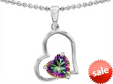 Original Star K™ 8mm Heart Shape Rainbow Mystic Topaz Pendant