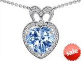 Original Star K™ Heart Shape Simulated Aquamarine Pendant