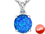 Original Star K™ Large 12mm Round Created Blue Opal Pendant style: 307234