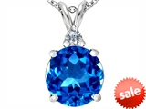 Original Star K™ Large 12mm Round Simulated Blue Topaz Pendant