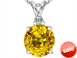 Original Star K™ Large 12mm Round Simulated Citrine Pendant style: 307236
