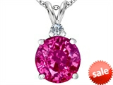 Original Star K™ Large 12mm Round Created Pink Sapphire Pendant