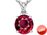 Original Star K™ Large 12mm Round Created Ruby Pendant style: 307241