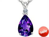Original Star K™ Large 14x10mm Pear Shape Simulated Amethyst Pendant