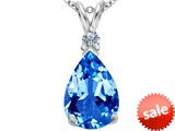 Original Star K™ Large 14x10mm Pear Shape Simulated Blue Topaz Pendant style: 307252