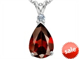 Original Star K™ Large 14x10mm Pear Shape Simulated Garnet Pendant