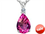Original Star K™ Large 14x10mm Pear Shape Created Pink Sapphire Pendant
