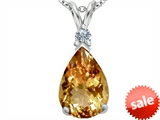 Original Star K™ Large 14x10mm Pear Shape Simulated Imperial Yellow Topaz Pendant