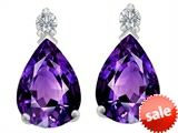Original Star K™ 8x6mm Pear Shape Simulated Amethyst Earring Studs