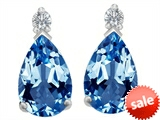 Original Star K™ 8x6mm Pear Shape Simulated Blue Topaz Earring Studs