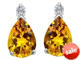 Original Star K™ 8x6mm Pear Shape Simulated Citrine Earring Studs