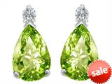 Original Star K™ 8x6mm Pear Shape Simulated Peridot Earrings Studs style: 307267