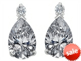 Original Star K™ 8x6mm Pear Shape Genuine White Topaz Earring Studs
