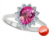 Original Star K™ 8x6mm Pear Shape Created Pink Sapphire Engagement Ring