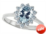 Original Star K™ 8x6mm Pear Shape Simulated Aquamarine Engagement Ring style: 307272