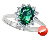 Original Star K™ 8x6mm Pear Shape Simulated Emerald Engagement Ring