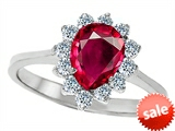 Original Star K™ 8x6mm Pear Shape Created Ruby Engagement Ring