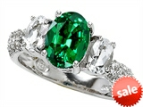 Original Star K™ 9x7mm Oval Simulated Emerald Engagement Ring