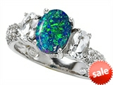 Original Star K™ 9x7mm Oval Created Blue Opal Engagement Ring style: 307279