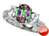 Original Star K™ 9x7mm Oval Rainbow Mystic Topaz Engagement Ring style: 307281