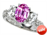 Original Star K™ 9x7mm Oval Created Pink Sapphire Engagement Ring style: 307282