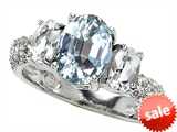 Original Star K™ 9x7mm Oval Simulated Aquamarine Engagement Ring style: 307284