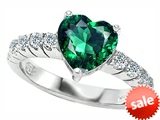 Original Star K™ 8mm Heart Shape Simulated Emerald Engagement Ring style: 307286