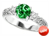 Original Star K™ 7mm Round Simulated Emerald Engagement Ring style: 307295