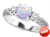Original Star K™ 7mm Round Simulated Opal Engagement Ring style: 307296