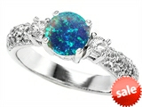 Original Star K™ 7mm Round Created Blue Opal Engagement Ring style: 307297