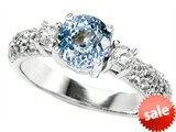 Original Star K™ 7mm Round Simulated Aquamarine Engagement Ring