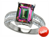 Original Star K™ 10x8mm Emerald Cut Rainbow Mystic Topaz Engagement Ring
