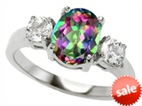 Original Star K™ 9x7mm Oval Rainbow Mystic Topaz Engagement Ring style: 307311