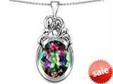Original Star K™ Large Loving Mother and Twins Family Pendant With Oval 11x9mm Rainbow Mystic Topaz