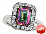 Original Star K™ 10x8mm Emerald Cut Mystic Rainbow Topaz Engagement Ring