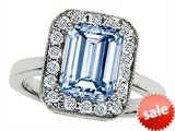 Original Star K™ 10x8mm Emerald Cut Simulated Aquamarine Engagement Ring style: 307320