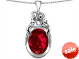 Original Star K™ Large Loving Mother and Twins Family Pendant With Oval 11x9mm Created Ruby