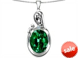 Original Star K™ Loving Mother With Child Family Pendant With Oval 11x9mm Simulated Emerald