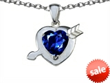 Original Star K™ Heart with Cupid`s Arrow Love Pendant with Created Sapphire style: 307325