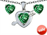 Original Star K™ Simulated Emerald Heart with Arrow Pendant Box Set with matching earrings