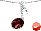 Original Star K™ Musical Note Pendant With Simulated Garnet Oval 11x9mm style: 307329