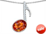 Original Star K™ Musical Note Pendant With Simulated Orange Mexican Fire Opal Oval 11x9mm style: 307331