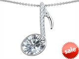 Original Star K™ Musical Note Pendant With Genuine White Topaz Oval 11x9mm style: 307332