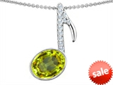Original Star K™ Musical Note Pendant With Simulated Peridot Oval 11x9mm style: 307333