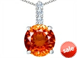 Original Star K™ Large 12mm Round Simulated Mexican Orange Fire Opal Pendant style: 307335