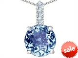 Original Star K™ Large 12mm Round Simulated Aquamarine Pendant style: 307337
